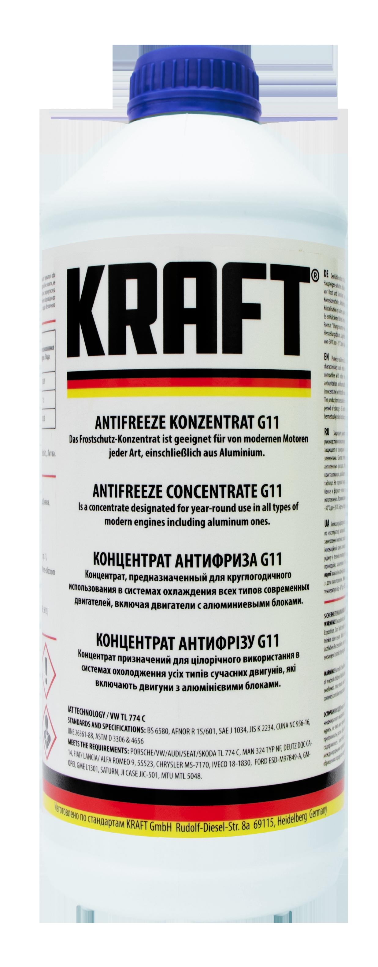 Концентрат антифриза G11 ТМ 'KRAFT' 1,5л KF101